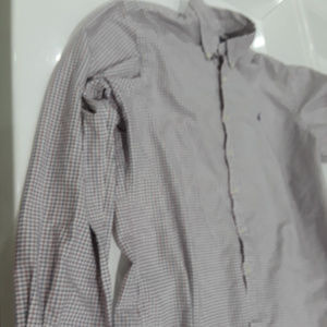 Ralph Lauren white, burgundy, navy checked shirt